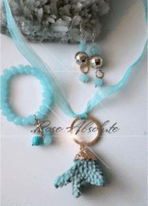 Комплект бижута Рак - Корал, опал, аквамарин и тюркоаз