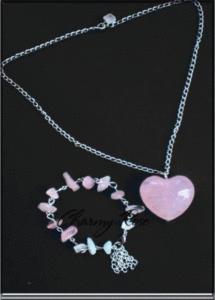 Комплект колие и гривна Rose Heart by Rose Absolute - розов кварц