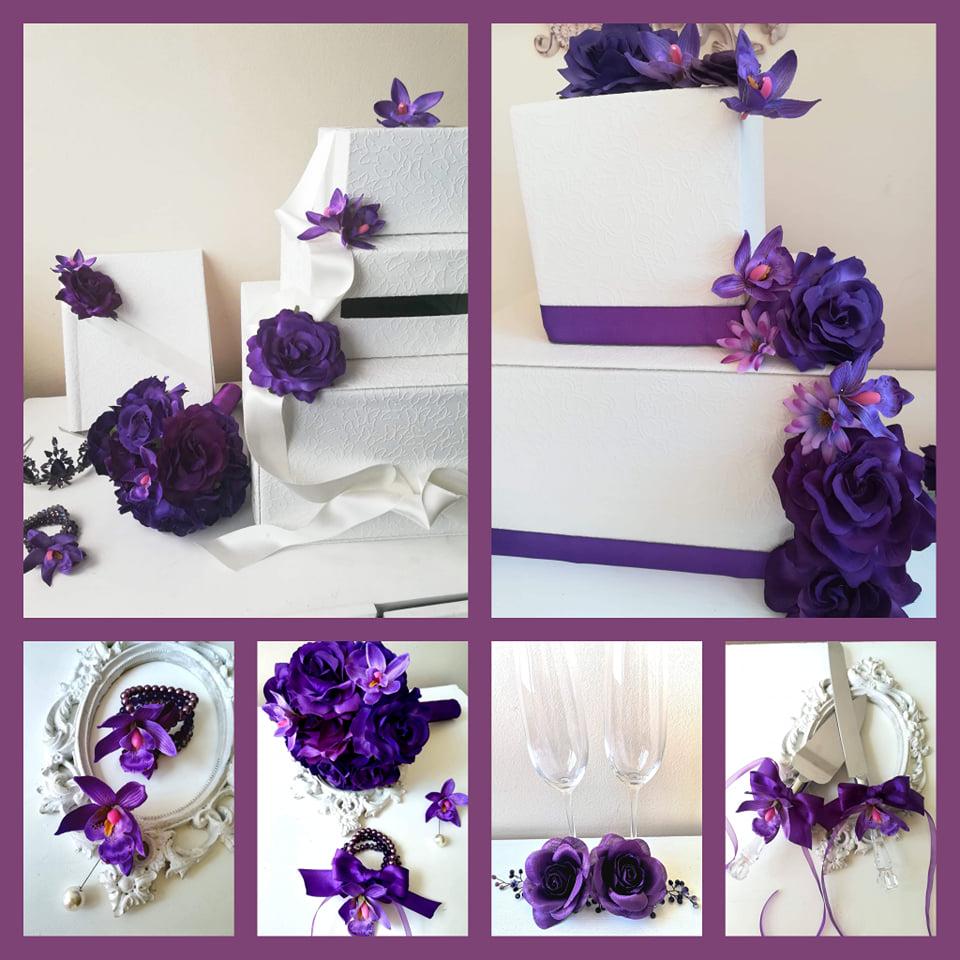 сватбени букети, кутии за пари, албуми, чаши и аксесоари в тъмно лилаво - Charmy Bride.com