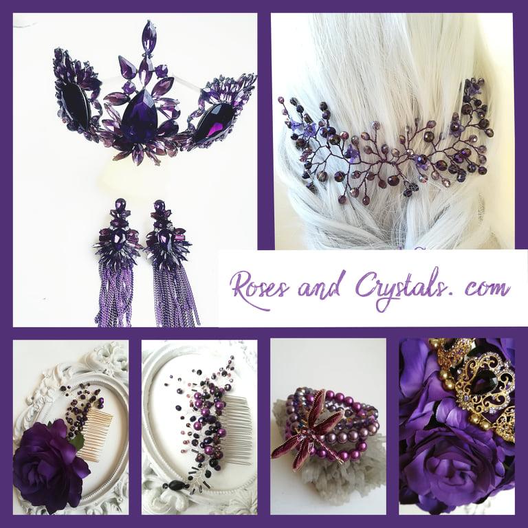 Дизайнерски корони и украси за коса за Булката и дамите в тъмно лилаво - RosesandCrystals. com