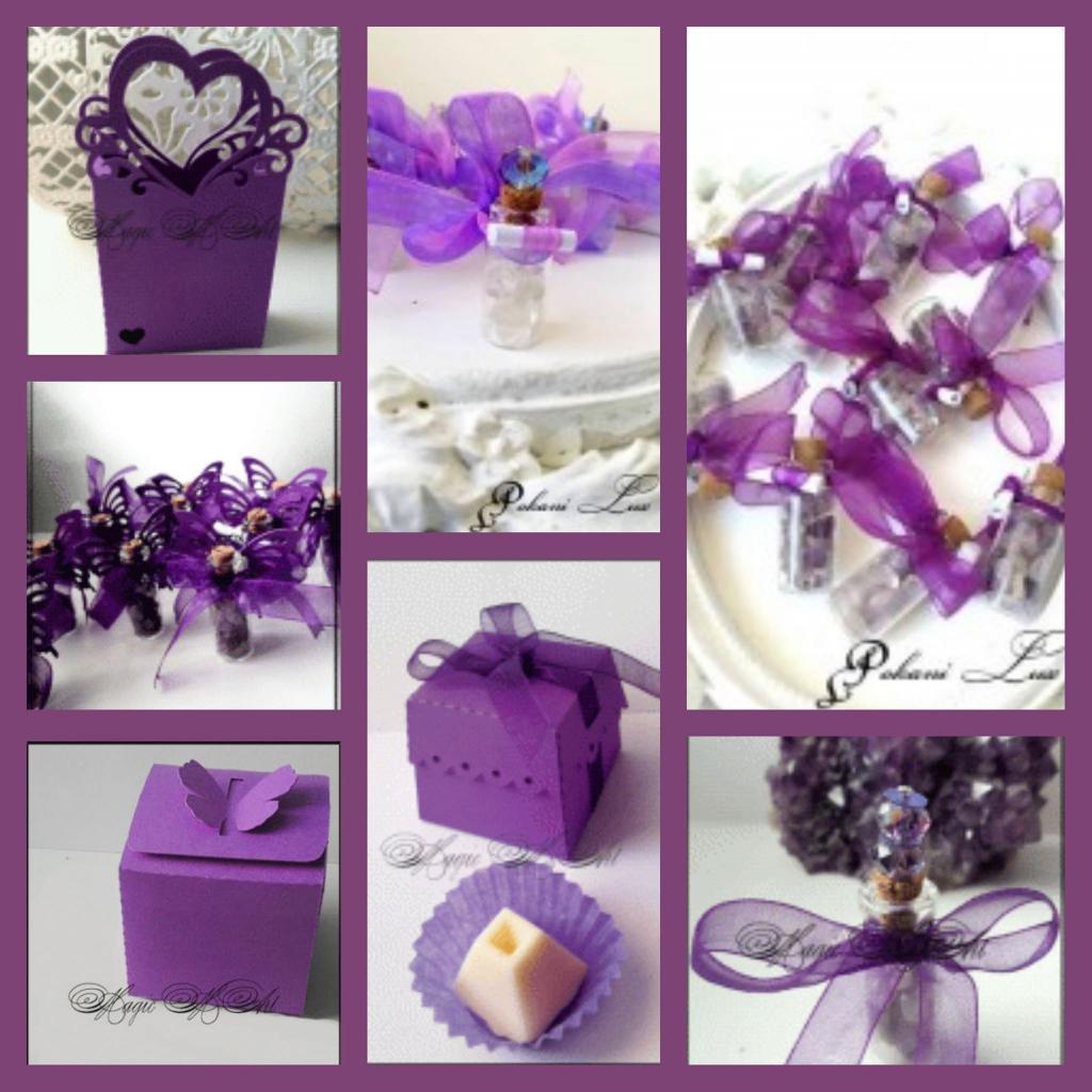 Сватбени кутийки, бонбони и сувенири за гости в тъмно лилаво - CharmyBride.com