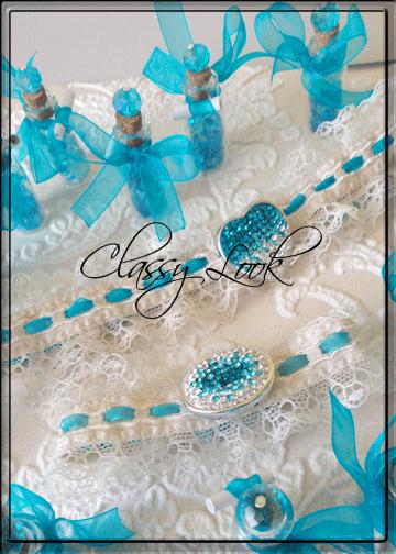Жартиер в тюркоазено в комплект с подаръчета за гости и гривна за шаферка- Charmybride.com