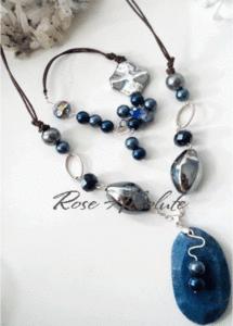 Blue Rose -Ахат драконова вена и кристали Сваровски - уникално колие и гривна