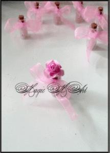 Подаръче за гости на сватба Розов Кварц с панделка и цвете