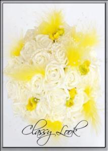 сватбен букет с изкуствени цветя и пера в жълто Svatbalux