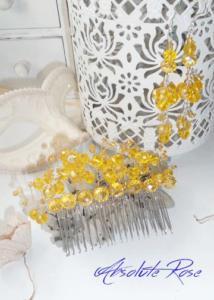 Гребен-украса за коса с жълти кристали и обици- Absoluterose