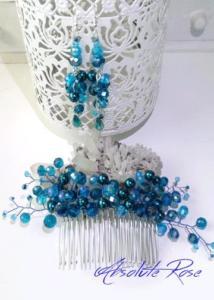 Гребенче-украса за коса с тюркоазени кристали в комплект с обици- AbsoluteRose