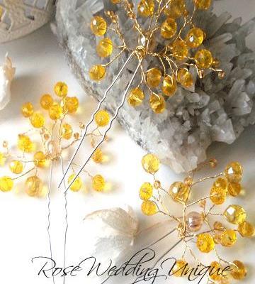 Дизайнерски фуркети за коса със жълти кристали