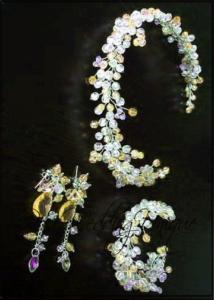 Кристална диадема с гривна и обици в жълто