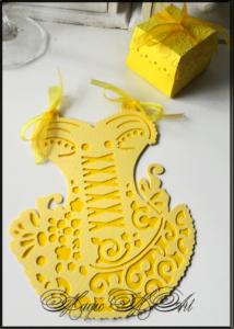 Покана за шаферки и моминско парти и кутийка за подаръче в жълто SvatbaLux