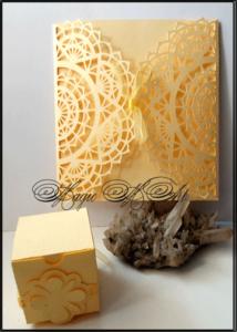 Сватбена покана и кутийка за подаръче в жълто SvatbaLux