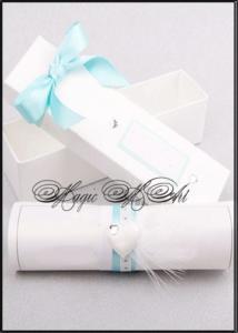 Сватбена покана с кутийка в бяло и тюркоазено Svatbalux