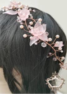 Диадема за коса за бал в златно и розово
