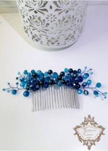 Гребен за коса за абитуриентка в синьо и тюркоазено