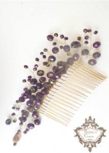 Ръчно изработено гребенче за коса в лилаво
