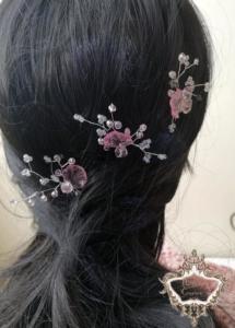 Ръчно изработени дизайнерски фуркети за коса в розово