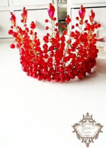 Абитуриентска корона за коса с кристали в червено и златно