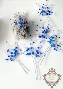 Дизайнерски фуркети за коса за абитуриентка в бяло и синьо