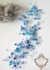 Абитуриентска украса за коса в синьо