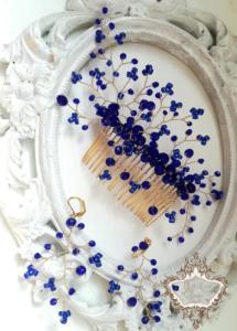 Красиво гребенче-аксесоар за коса и обици в синьо и златно- Blue and Gold
