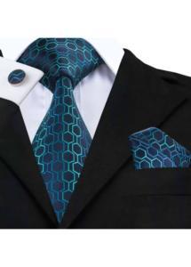 Ефектен комплект вратовръзка кърпичка и ръкавели в тъмно синьо и тюркоаз