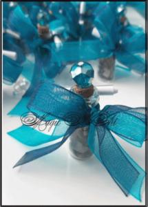 Подаръче за сватба Лазурит с двойна панделка и кристал над 20 бр