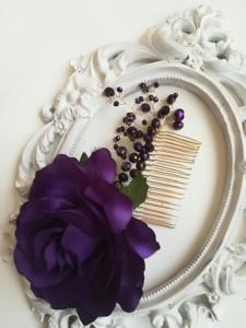Гребенче-украса за булчинска прическа в тъмно лилаво