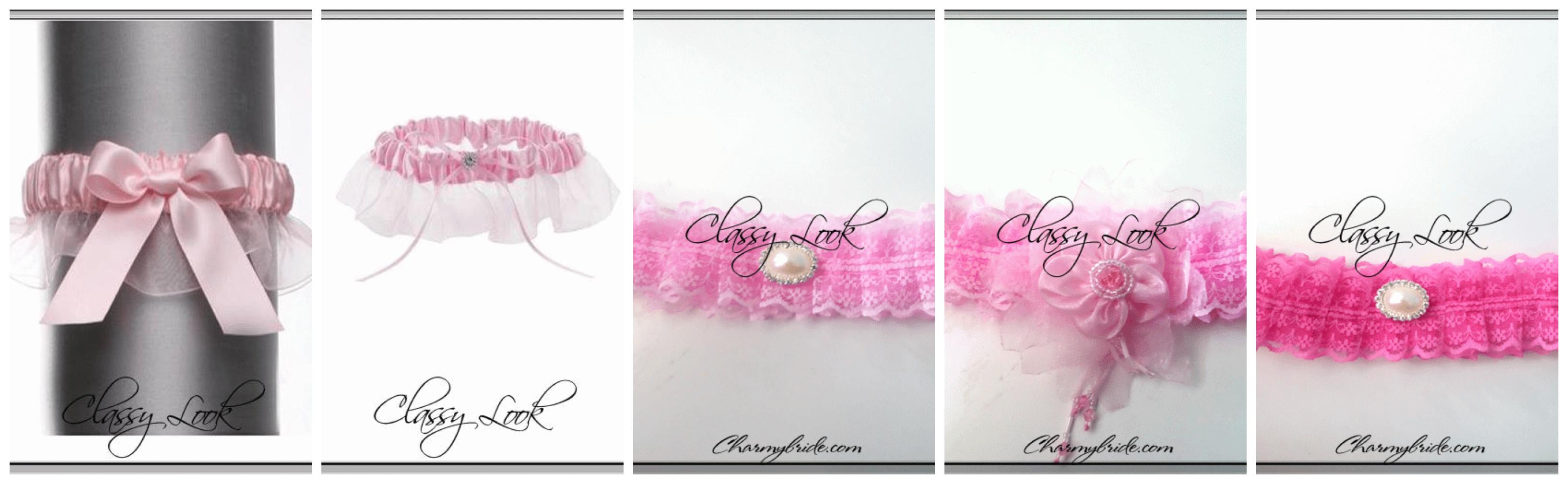 Жартиери за сватба в розово