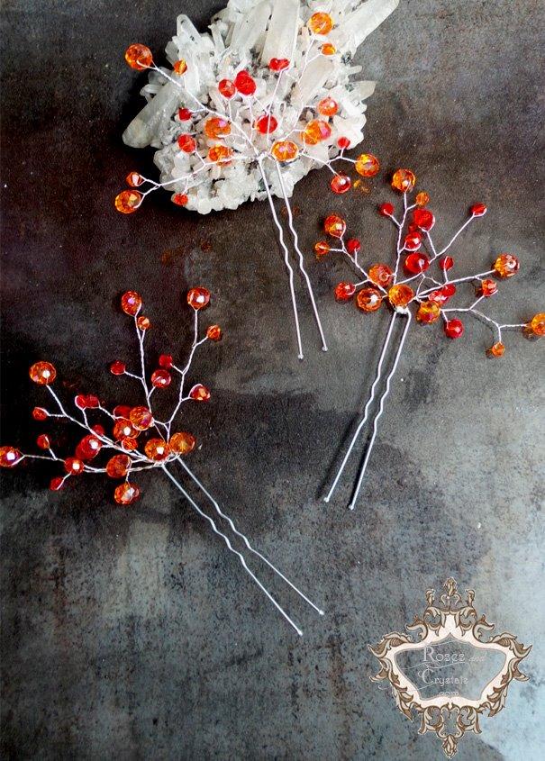 Дизайнерски кристални фуркети- украса за коса в оранжево и корал Orange Flowers