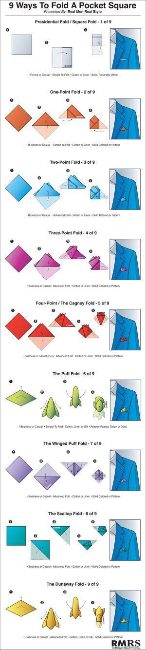 Как се свива кърпичка за сако