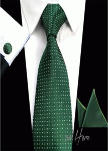 Комплект за сватба и бал луксозна мъжка вратовръзка комплект с ръкавели и кърпичка в тъмно зелено