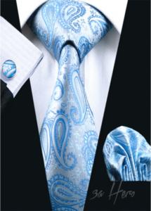 Луксозна мъжка вратовръзка комплект с ръкавели и кърпичка в светло синьо