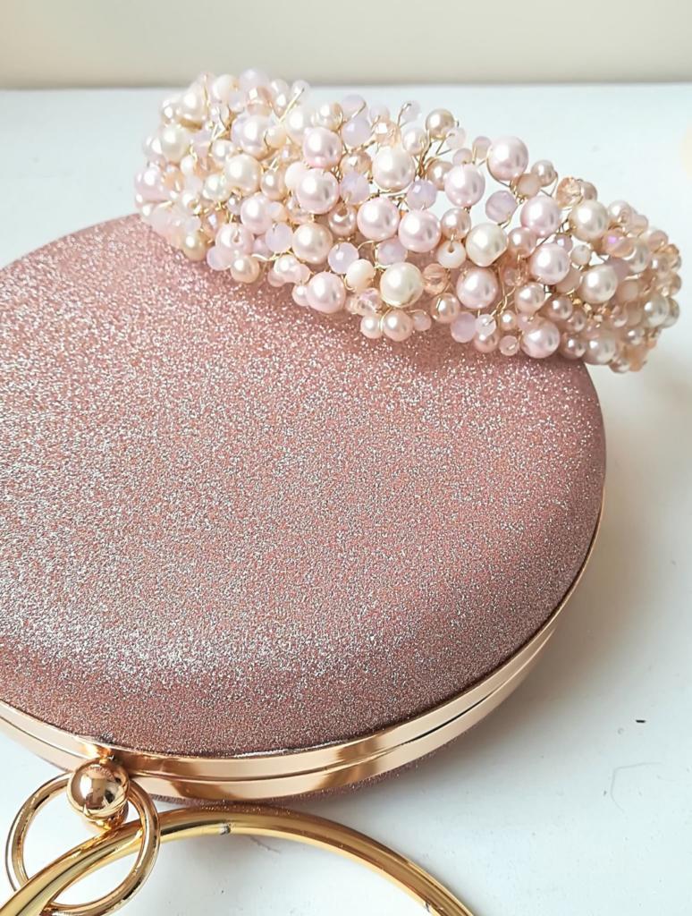 Стилна и нежна кристална булчинска диадема в розово и прасковено Gold Rose Blush by Rosie