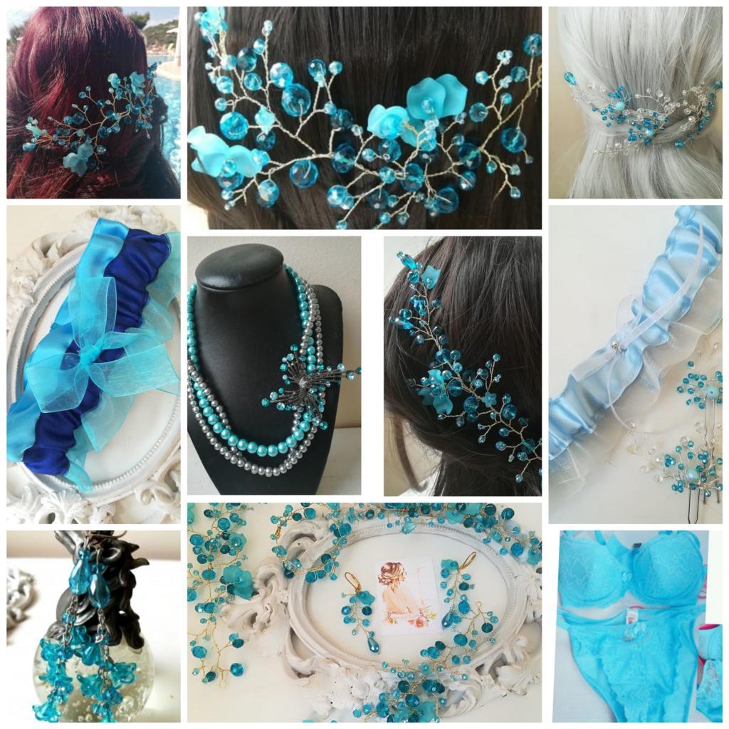 Булчински украси за коса, бижута и бельо в цвят тюркоаз