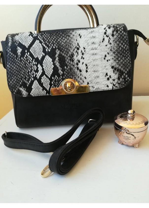 Изключително елегантна дамска чанта Chanel в черно сиво и бяло