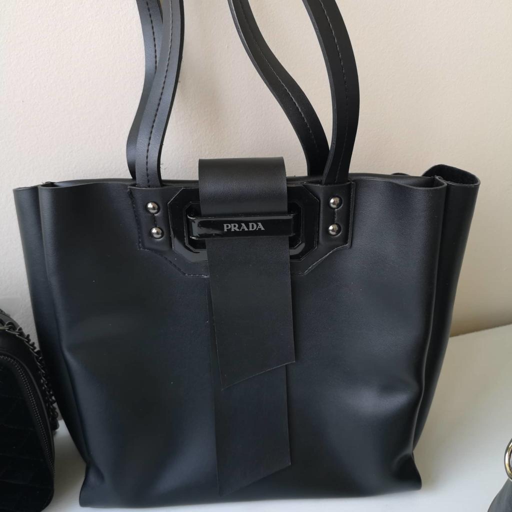Елегантна черна кожена чанта Prada
