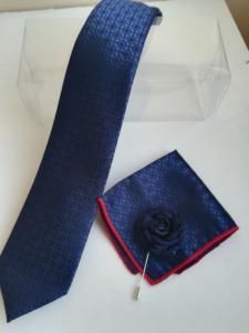 Комплект мъжка вратовръзка с кърпичка в тъмно синьо