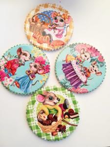 Сувенири за късмет в дома през 2020 годината на Плъха - 4 ръчно рисувани подложки за чаши