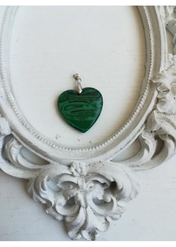 Медальон за пари - сърце от Малахит размер XXL плоско