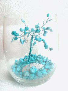 Подарък за късмет в дома- Дръвче тюркоаз в стъклен съд